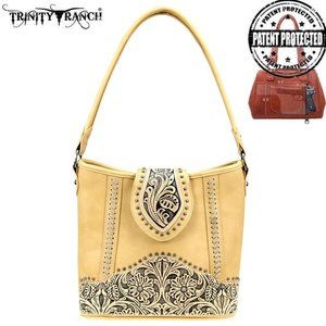Trinity Ranch Tooled Leather Concealed Carry Hobo